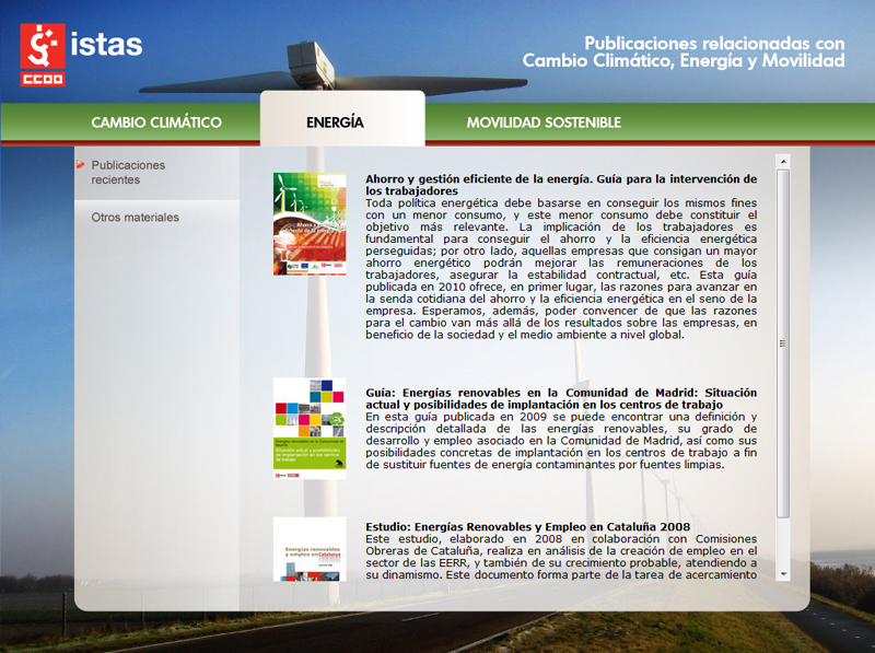 Publicaciones relacionadas con Cambio Climático, Energía y Movilidad Sostenible